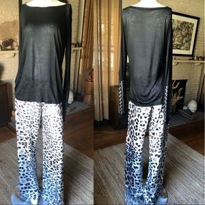 Thomas Wylde l/s black tissue t-shirt w/ crystals